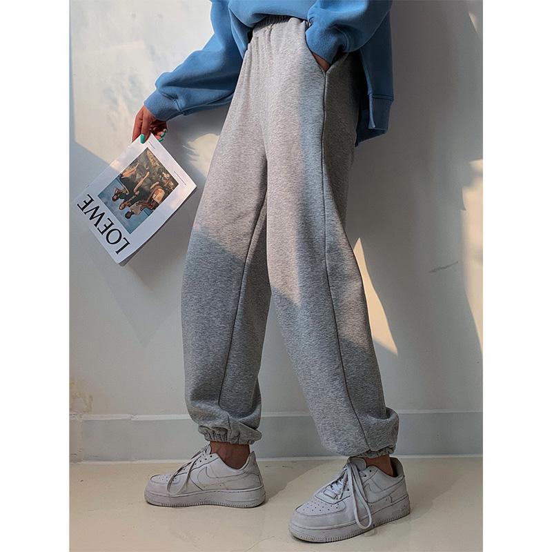 灰色运动裤女宽松束脚显瘦裤子春秋长裤白色卫裤ins潮休闲阔腿裤