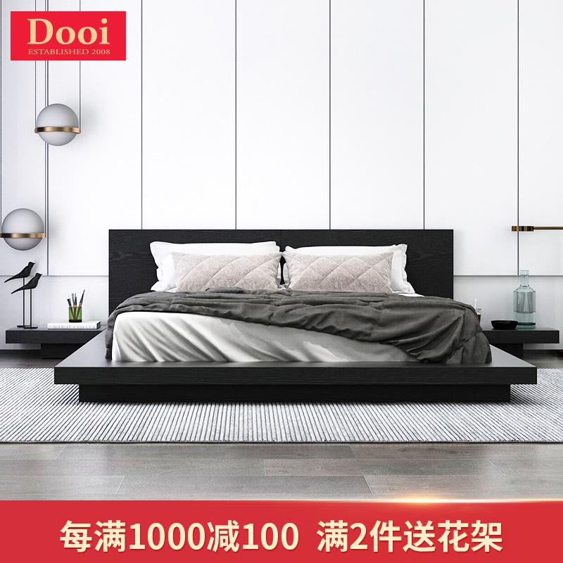 北欧榻榻米床低矮床简约现代双人床板式床1.8米日式2米大床黑橡木