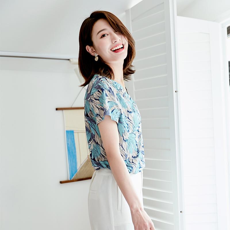 诗燕时装女装T恤v领印花显瘦直筒通勤简约风时尚碎花上衣短袖衬衫