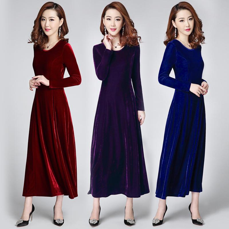 Весна , осень, зима 2017 новый золотой бархат платье с длинными рукавами и круглым воротом большие качели ночь платья платье cheongsam женский большой размер