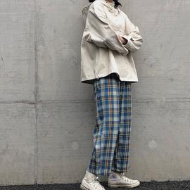 格子裤女宽松直筒韩版蓝色日系复古高腰显瘦薄款夏季小个子休闲裤图片
