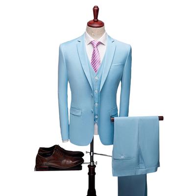 新款商务休闲西服套装男韩版修身时尚新郎结婚大码西装套装P190