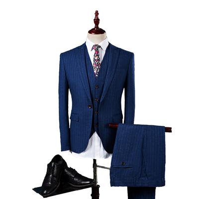 春秋新款男士条纹西装三件套韩版修身结婚新郎大码西服套装P260