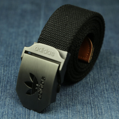 Fine leather belt mens sports smooth buckle canvas belt womens general leisure and versatile young students thickened fashionable belt