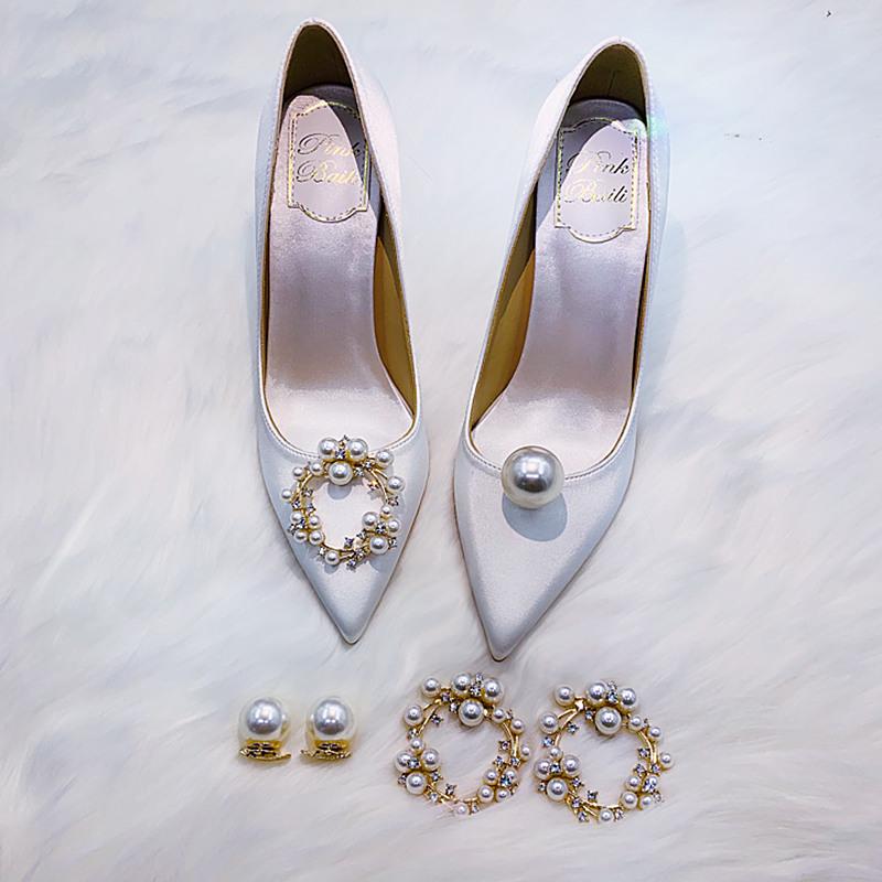 2021新款香槟珍珠尖头红色5cm高跟单鞋女细跟白色主婚纱新娘婚鞋