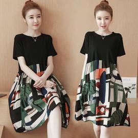 2020夏季新款韩版减龄遮肚子大码宽松显瘦连衣裙加肥加大胖MM女裙