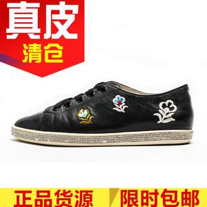 真皮女鞋子黑色牛皮板鞋秋深口绑带平底跟圆头刺绣花朵SF81112111