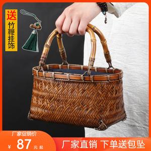 纯手工精工竹编包手提包女编织时尚复古迷你女包创意茶具收纳包包