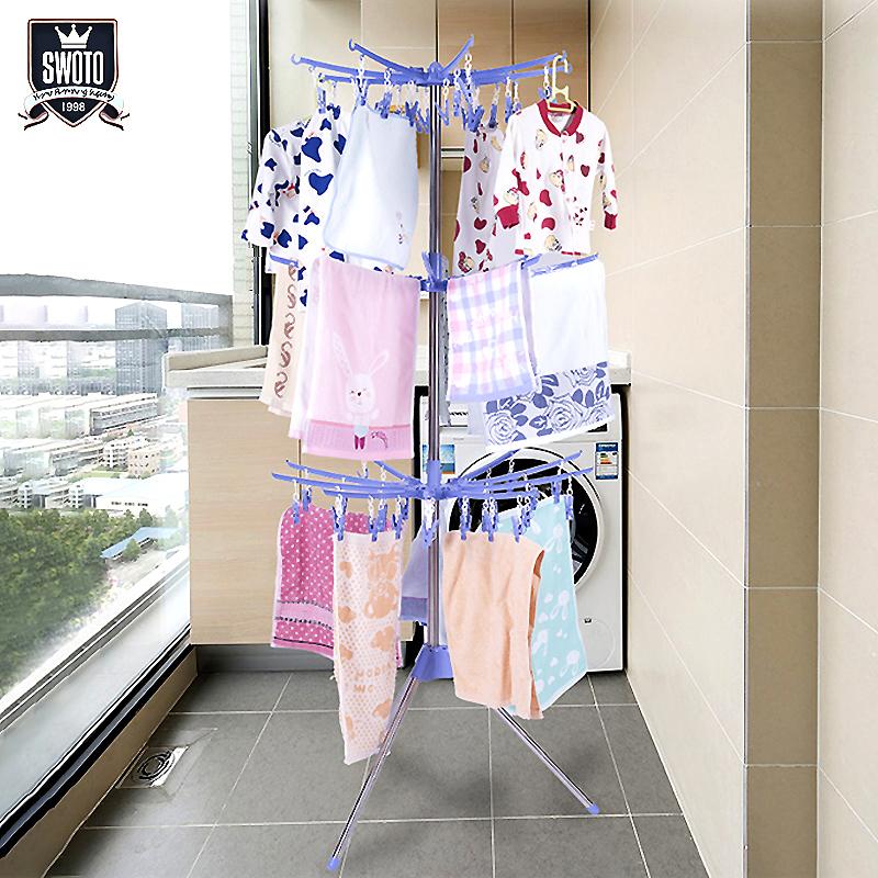婴儿晾衣架儿童晒衣架落地折叠阳台室内多功能毛巾架宝宝尿布架