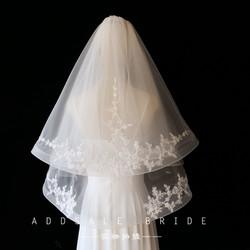 短款蕾丝新娘头纱女婚礼白色新娘婚纱头饰双层造型森系拍照头纱