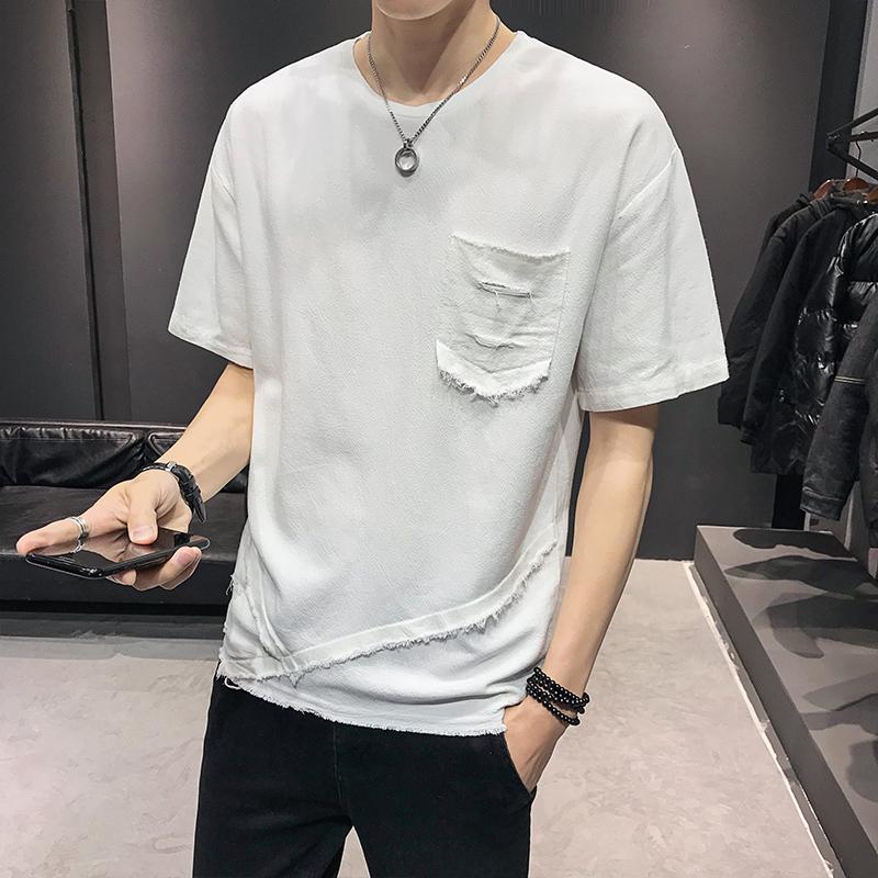 2020夏季短袖t恤男士圆领体恤半袖宽松男装 白色B317/TX07/P45