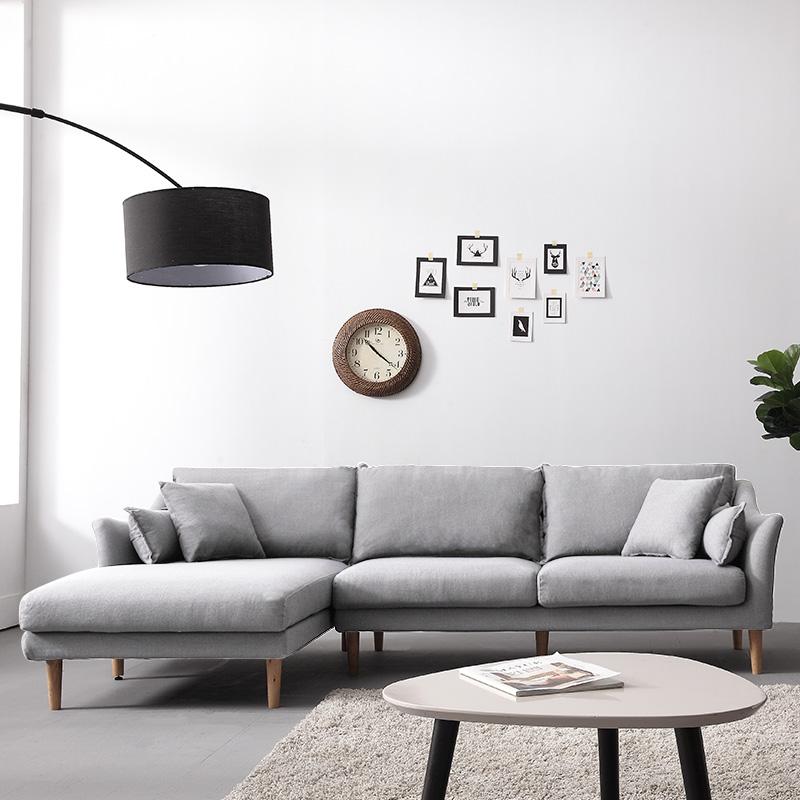 乳胶布艺沙发北欧组合客厅转角贵妃三人沙发简约现代小户型家具