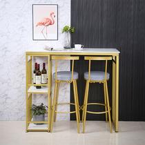 北欧轻奢大理石吧台桌家用客厅隔断柜简约现代小户型高脚桌椅组合