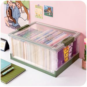 可移动书箱书籍收纳盒整理筐学生高中教室用透明箱子装书本可折叠