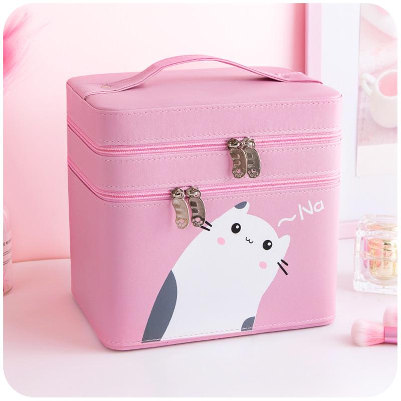 双层化妆包大容量便携少女心ins风超火收纳盒品箱手提可爱日系小