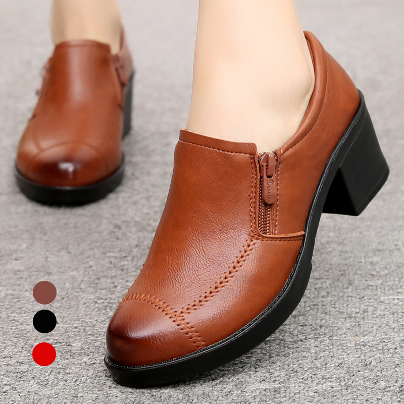 Autumn new mom shoes leisure soft sole single shoes high heel middle aged and elderly women shoes thick heel women zipper shoes