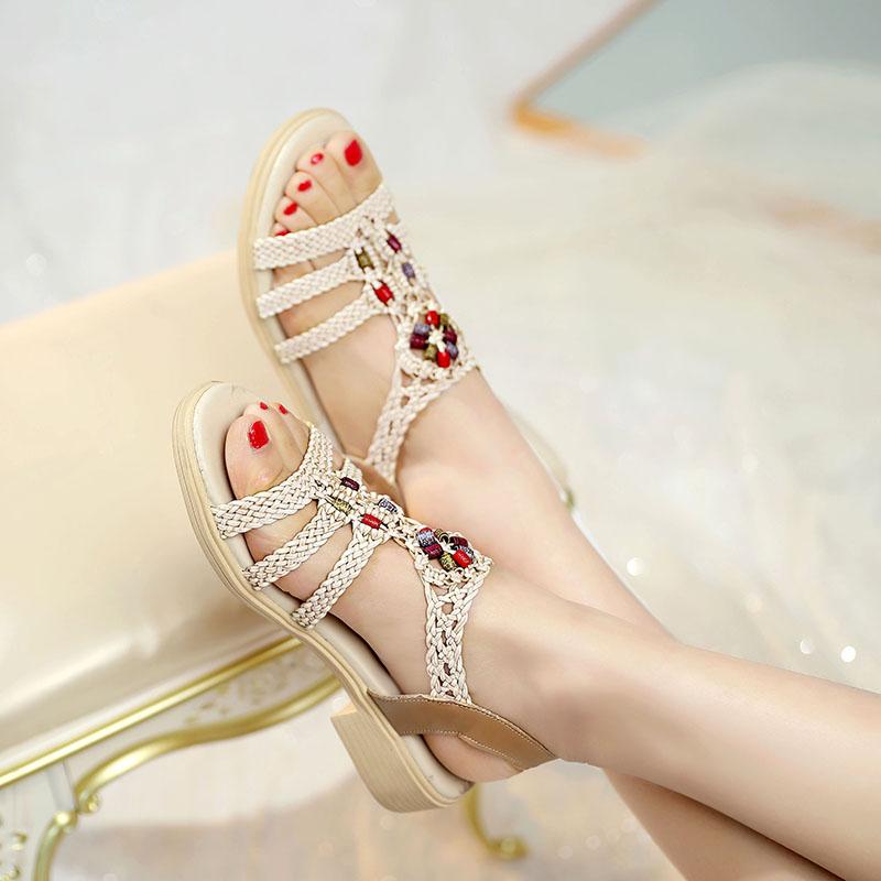 夏2021年新款佳人红蜻蜓坡跟凉鞋女平底鞋仙女风波西米亚沙滩鞋女