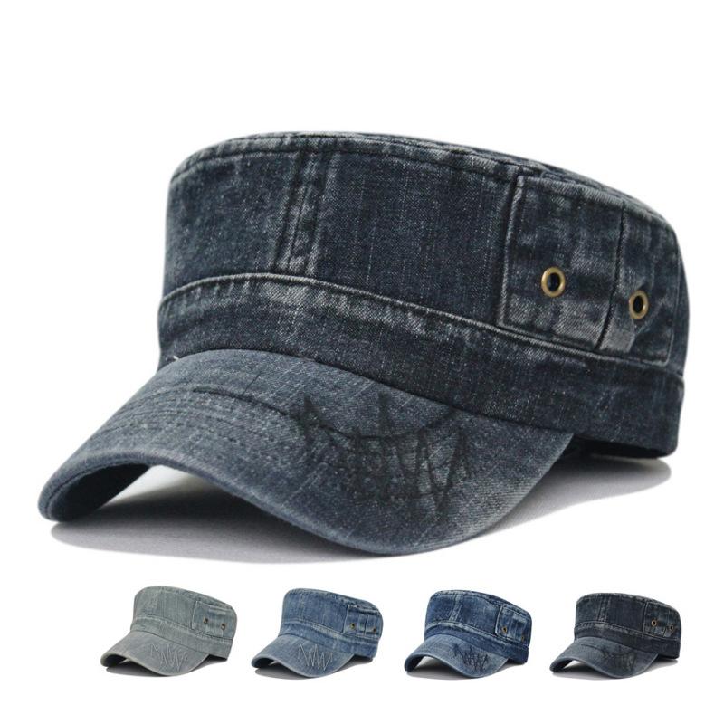 平顶帽水洗牛仔布男士大号军帽四季通用潮青年帽子大头围休闲韩版