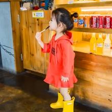 2017秋冬新款韩版纯色字母中长袖连帽卫衣裙荷叶边T恤裙女童小童
