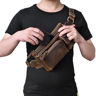 疯马皮男士腰包手工复古真皮胸包户外休闲头层牛皮斜挎包运动腰包
