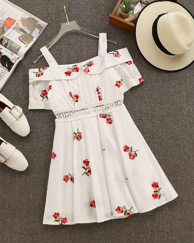 2018夏装新款S家同款VIVI杂志款甜美一字领露肩连衣裙减龄高腰裙