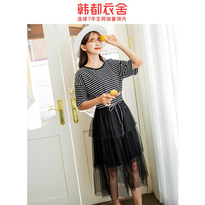 韩都衣舍旗舰店2021春新款韩版女装网纱蛋糕小黑裙很仙的连衣裙