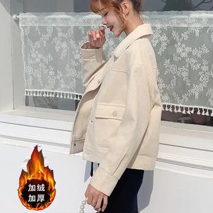 加厚加絨短款外套女秋冬季新款寬鬆韓版時尚百搭條絨燈芯絨上衣