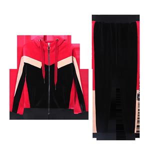 雙面絨撞色休閒運動套裝女裝時尚洋氣寬鬆加絨加厚跑步運動服顯瘦