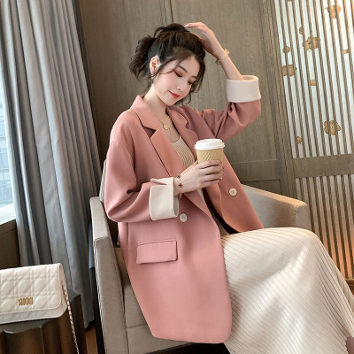 Korean loose net red Blazer womens top in spring 2019, small fragrance style, solid color, no pilling