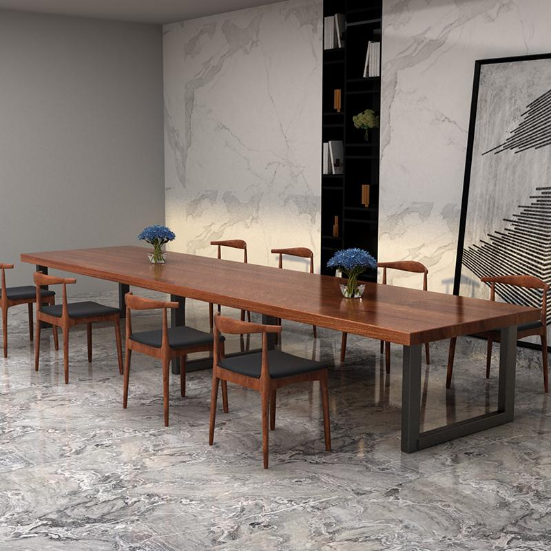 Твердая древесина панель Стол для конференций поколение Письменный стол, рабочий стол полосатый Настольный стул