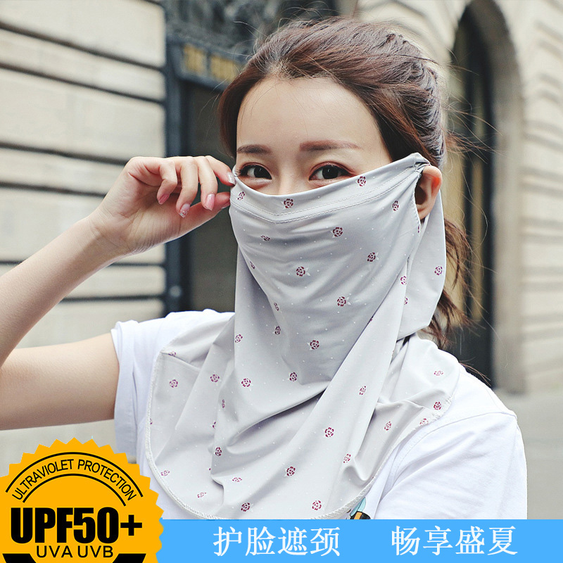 Summer ice silk sunscreen mask female headscarf breathable neck protection neck anti ultraviolet covering the whole face of riding mask