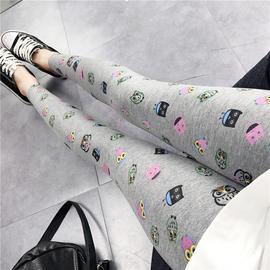 FAVA春夏新款莫代尔棉薄款九分外穿图案修身显瘦打底裤女小脚裤图片