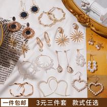 优品银耳扣韩国时尚简约单颗裸钻耳圈气质个姓小巧网红耳饰925小Z