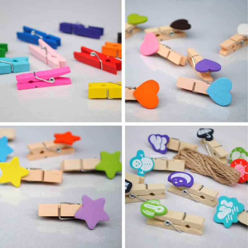 Разноцветный DIY декоративный деревянный клип Lomo фото стены клип Любовь форме небольшой клип японский и корейский милый фото клип
