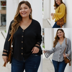 fat women knitted blouse Autumn Shirts lady clothes 大码女装