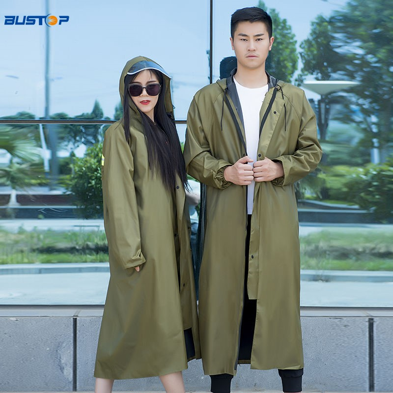 Adult mens and womens single body raincoat long rain proof poncho thickened couple walking outdoor portable rain proof