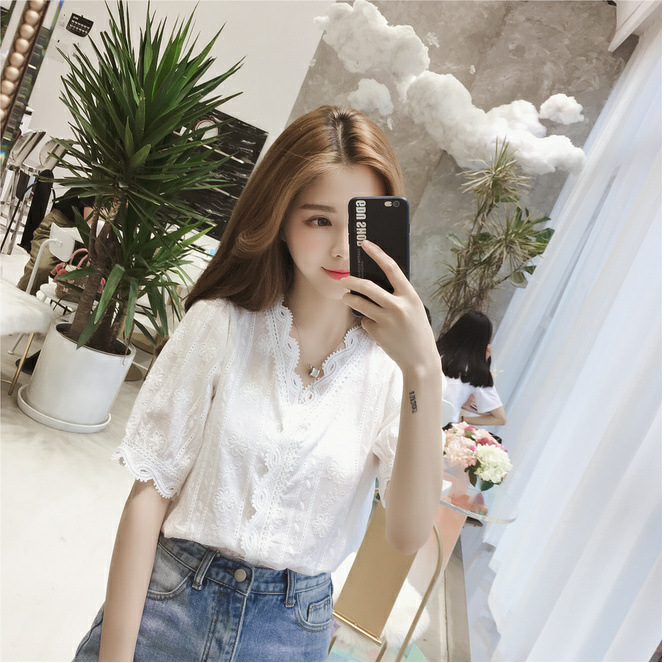Pure White Chiffon Top Womens half sleeve lace V-neck shirt