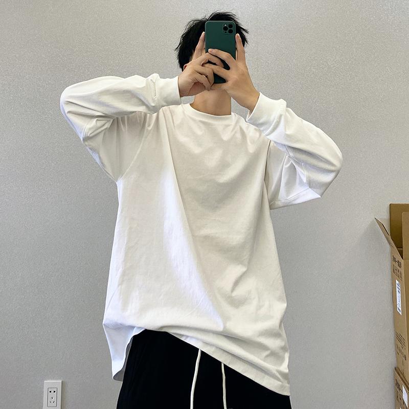 春秋新款潮流纯棉白色百搭宽松叠穿打底衫长袖T恤男士内搭上衣白t