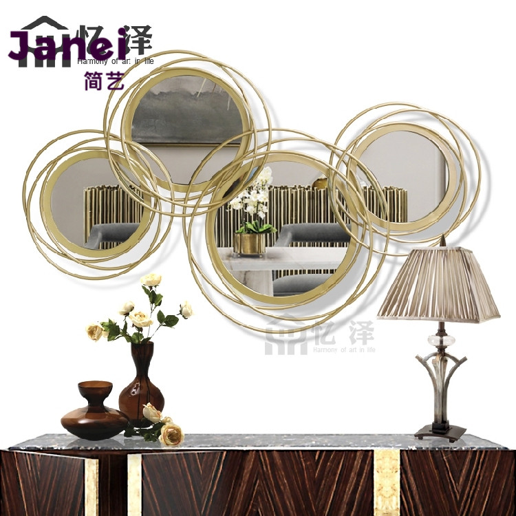 North European ins American mirror wall decoration modern simple sun decoration mirror decoration living room porch mirror