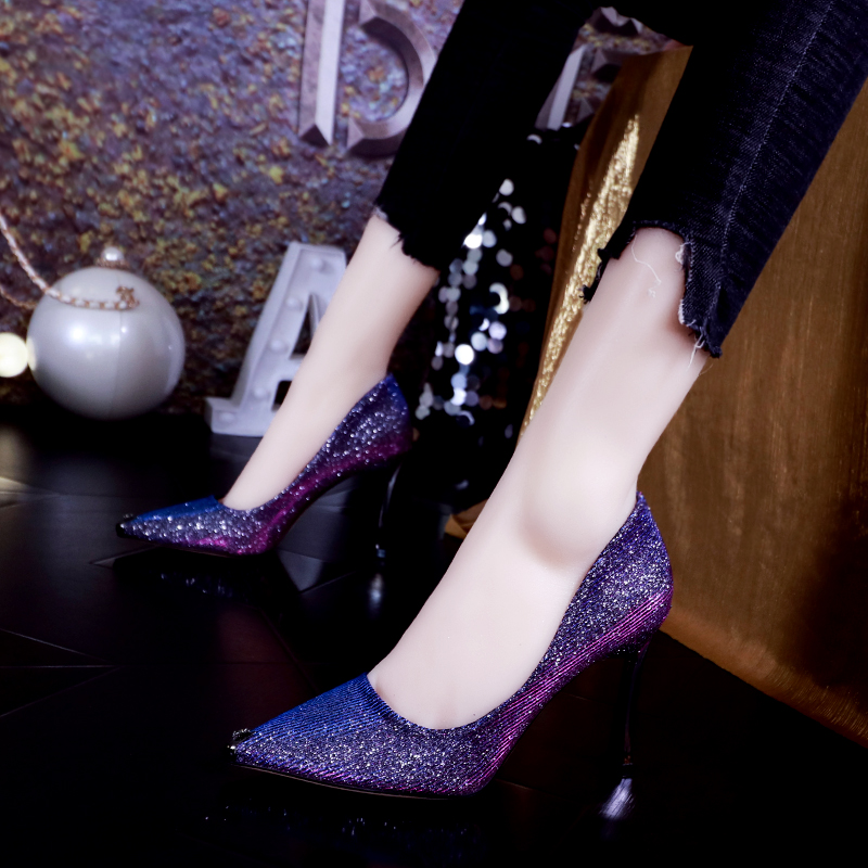 Purple sparkling high heels womens 2021 new versatile pointed thin heel professional shallow mouth Sequin flat heel shoes