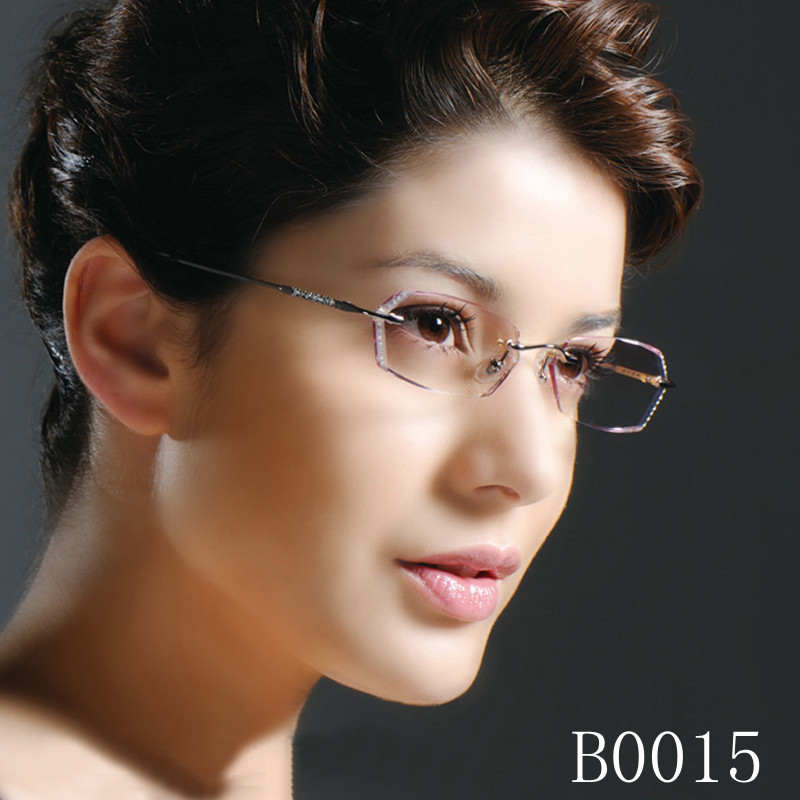 Short sighted frame female new frameless model glasses with cutting edge and diamond