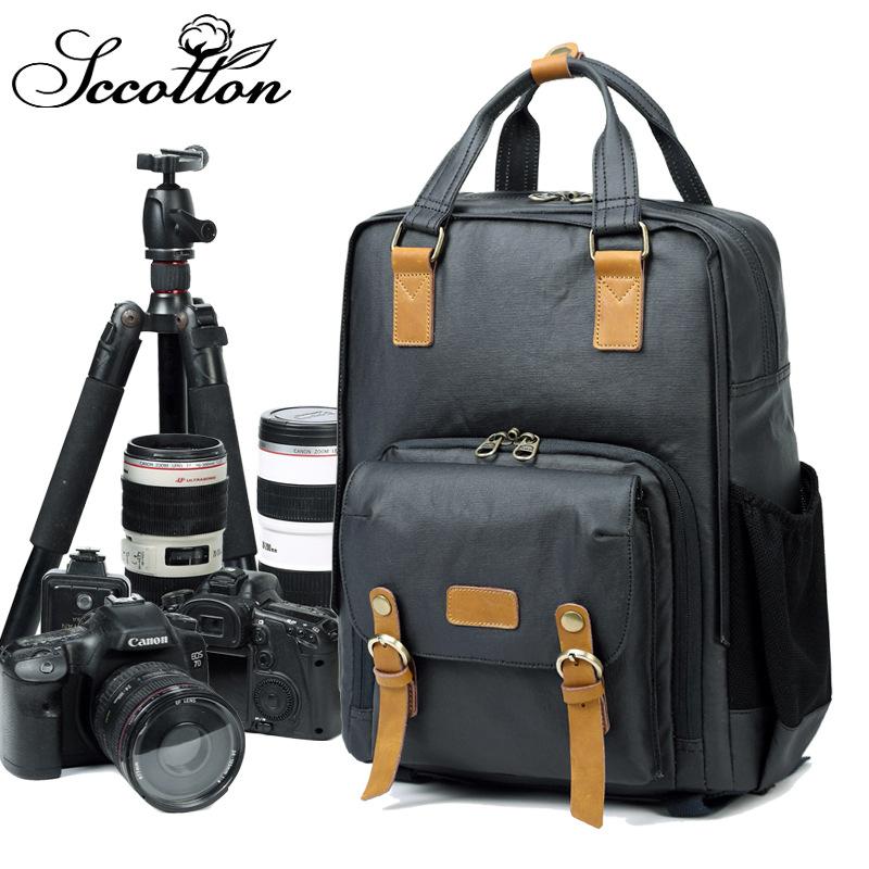 2018新款简约专业防盗防水双肩摄影包 单反数码相机包双肩包背包