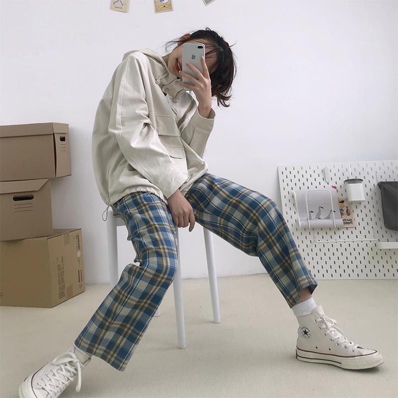筱眷村美式复古大格子半松紧直筒裤宽松休闲BF薄款长款女2020春夏