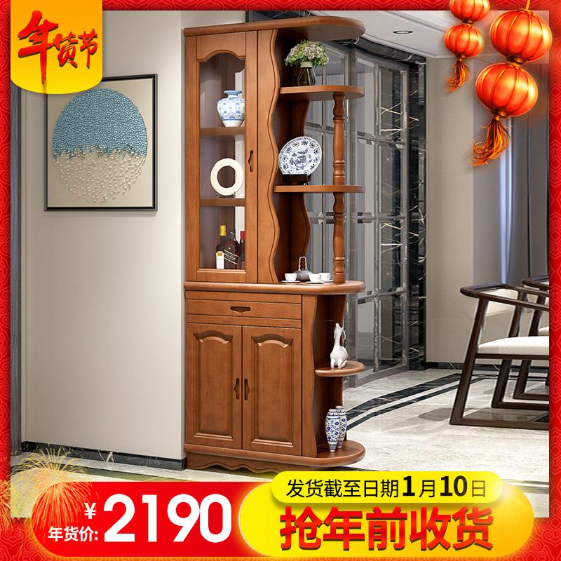 现代中式实木间厅柜双面酒柜客厅玄关隔断柜装饰鞋柜小户型门厅柜