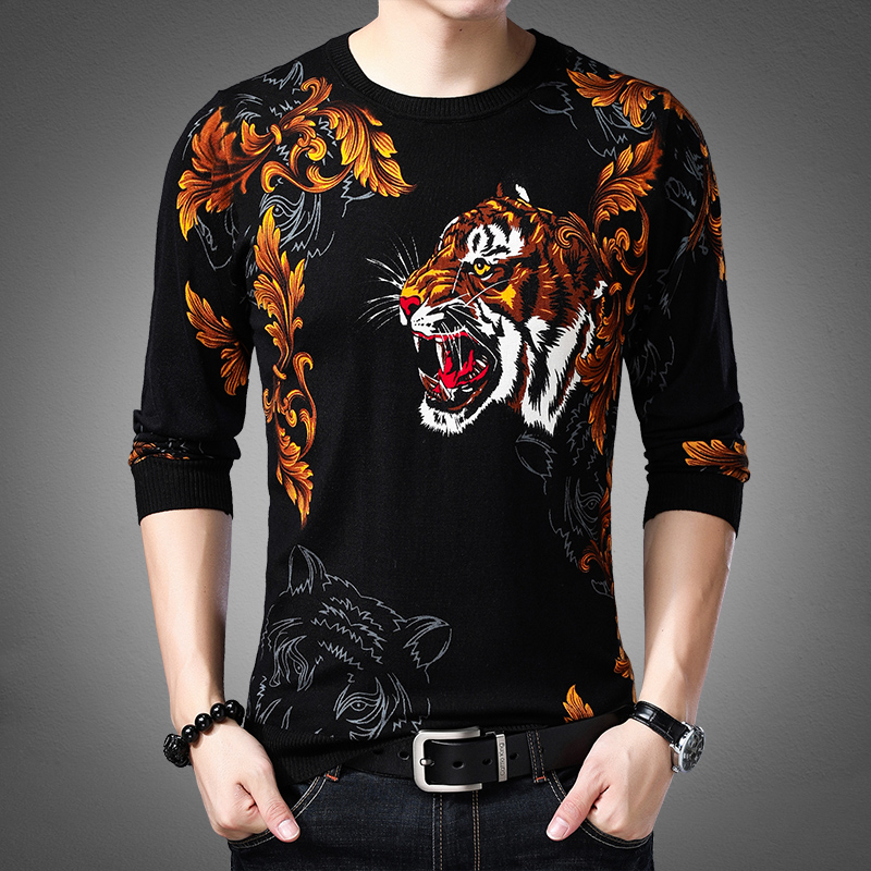 Mens T-shirt autumn slim trend Pullover personalized print pattern printed mens thin sweater sweater sweater