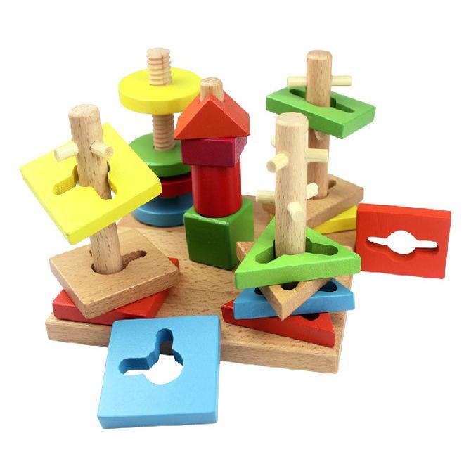 Детские Развивающие игрушки 1-3 красочные геометрический интеллект мудрость столбец IV колонка v колонки пластины блоки
