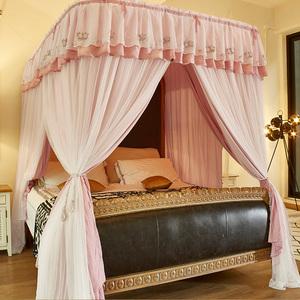 双层导轨u型遮光布蚊帐双轨道宫廷冬季加厚保暖1.8m床幔卧室床帘