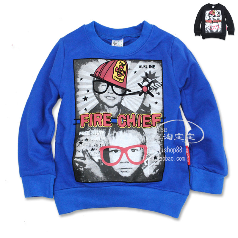 2894 детей корейской версии iKid дома новые дети печатных Терри хлопка экипажа шеи пуловер свитер мальчика