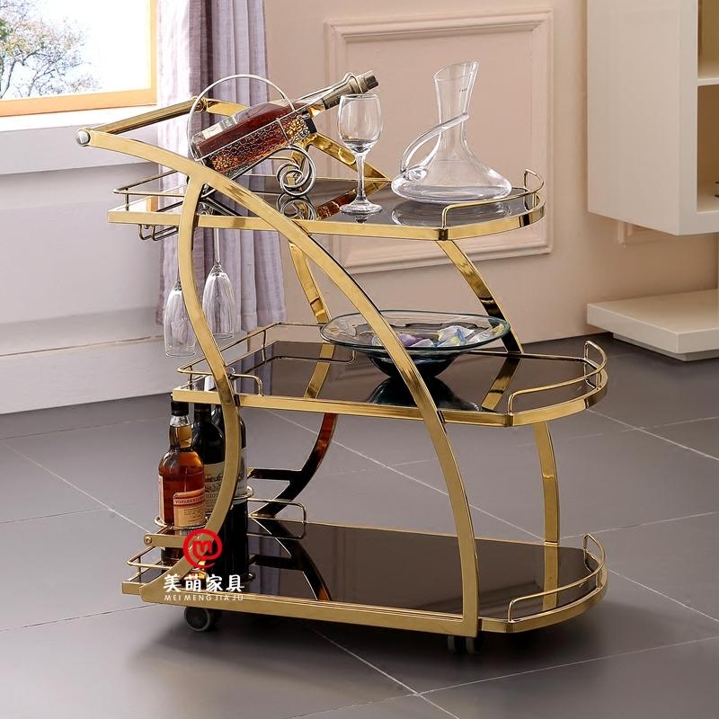 餐车小推车三层手推钛金酒水车商用饮料推车茶水车家用移动餐边柜
