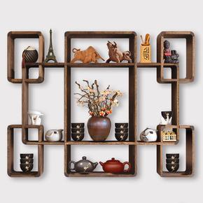 博古架实木中式壁挂式简约现代茶架子置物架挂墙多宝阁博物架古董